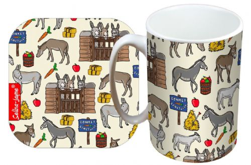 Selina-Jayne Donkey Limited Edition Designer Mug and Coaster Set